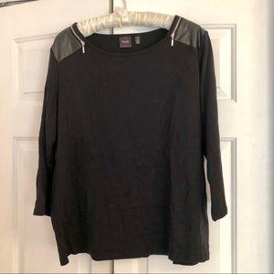 Rafaella 3/4 sleeve black 100% cotton shirt